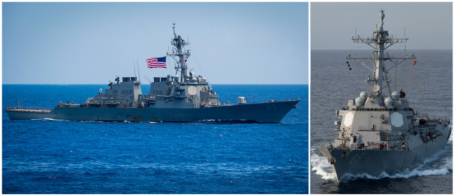 FILE PHOTO: US destroyer USS Benfold and U.S. destroyer USS Mustin in Pacific Ocean